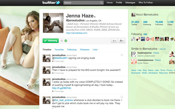 Twitter Profits From Porn, Jenna Haze